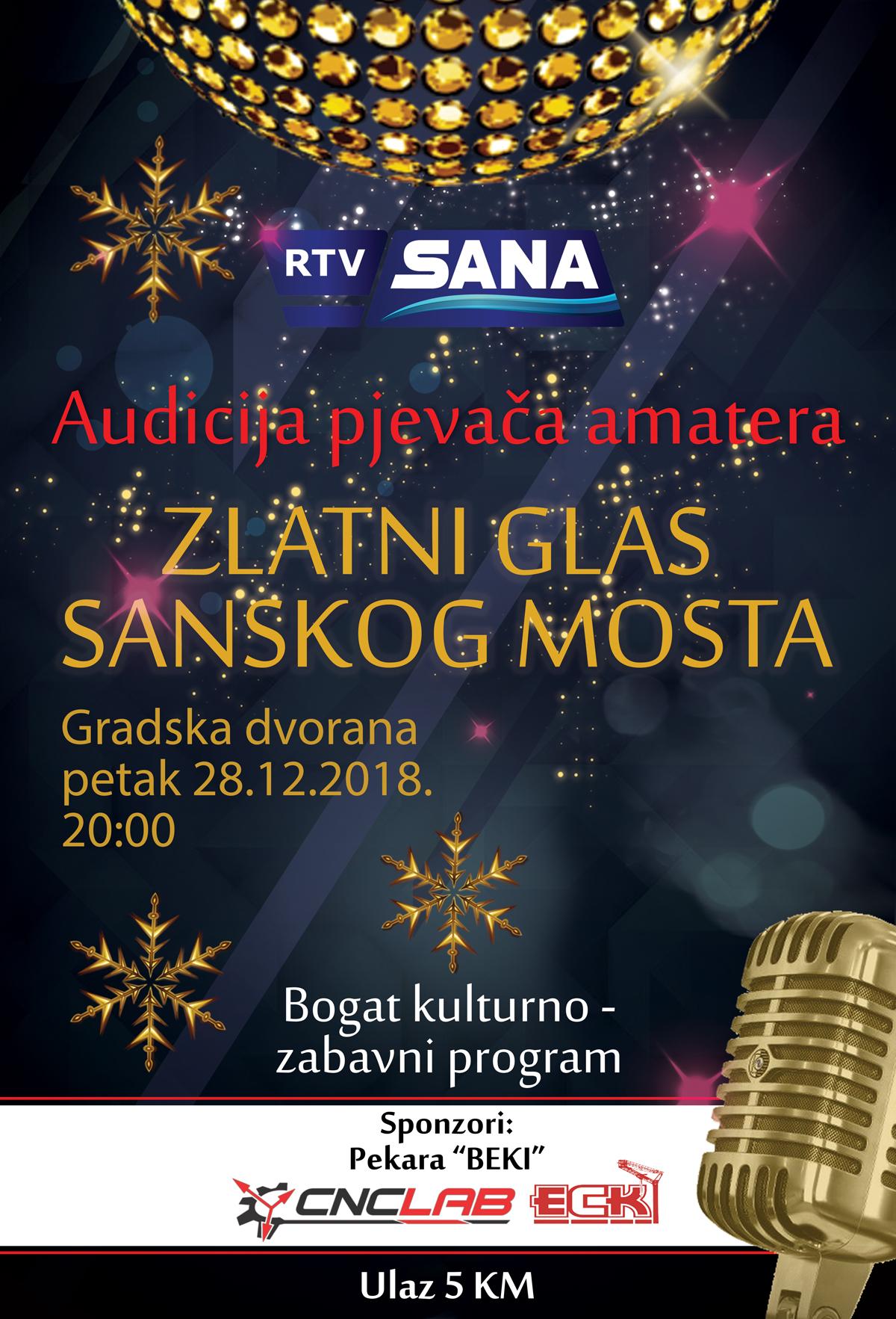 """POČELA PRODAJA ULAZNICA ZA """"ZLATNI GLAS SANSKOG MOSTA 2018"""""""